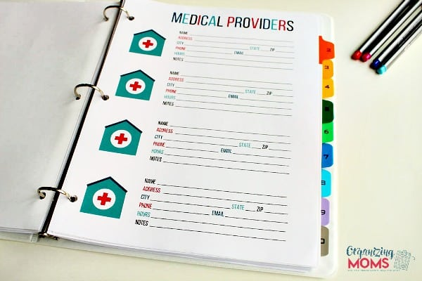 Medical Providers printable from Organizing Moms
