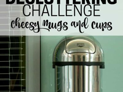 Clear out space in your kitchen by getting rid of cheesy mugs and stadium cups. Part of the Get Rid of It Decluttering Challenge.