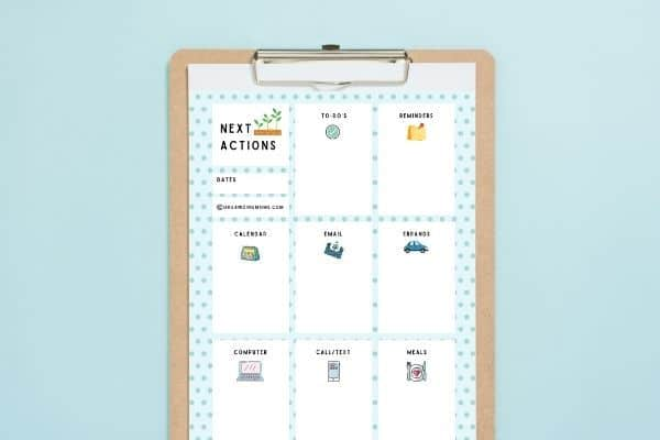 next actions list template free download on clipboard blue background