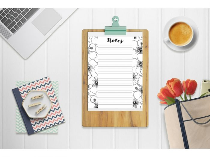 Notes sheet on clipboard. Coloring Planner Sheets collection. Organizing Moms.