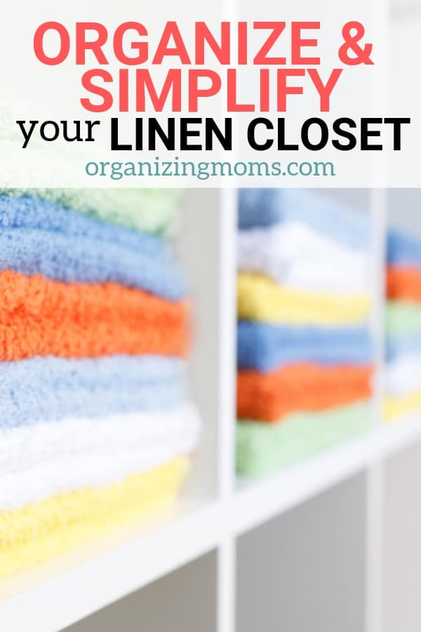 Simplify and organize your linen closet. Realistic linen closet organization. Shows step-by-step decluttering and organizing of a linen closet.