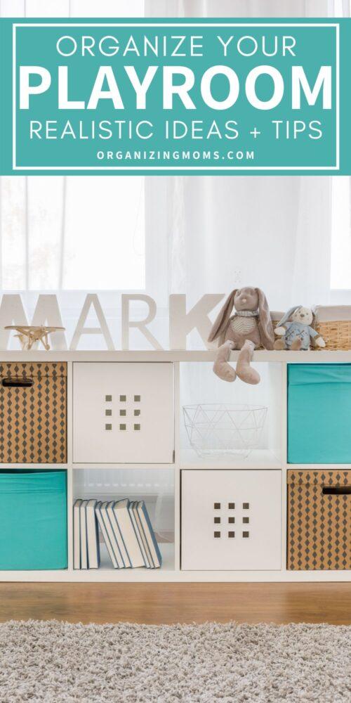 cube shelf storage in a playroom