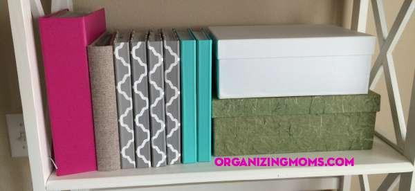 Photo Organization. Photo albums neatly displayed.