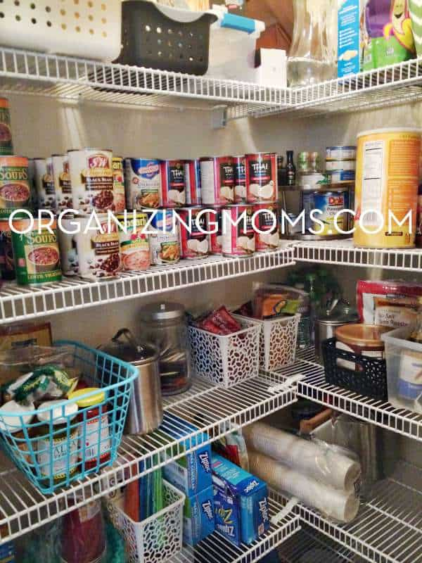 Pantry organized with bins. An easy solution to help get your pantry organized.