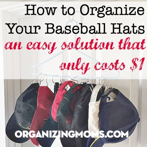 A simple solution for baseball hat organization.