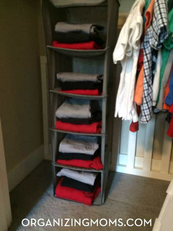 School uniform organization for all of the days of the week.