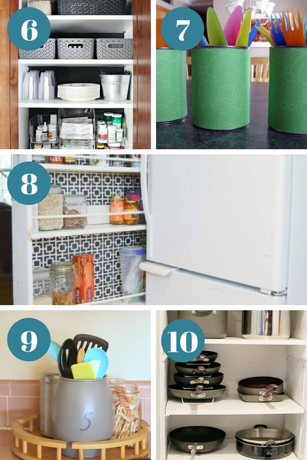 A close up of organized kitchens featured in 5-10 in this article about kitchen organization.