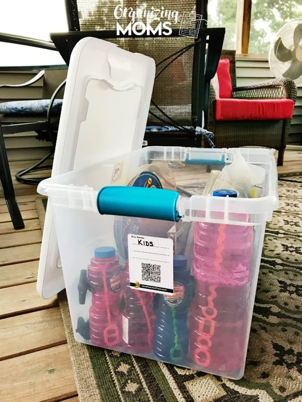 plastic bin with qr code label