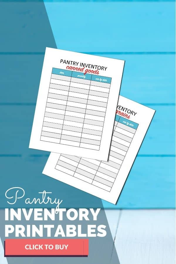 A close up of pantry inventory printables on blue background