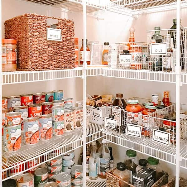 pantry organization with baskets risers