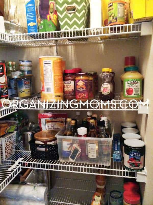 Like items are grouped together in this pantry organization project.
