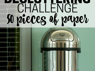 By getting rid of a set number of pieces of paper, you won't get overwhelmed, and you'll make progress. Part of the Get Rid of It! Decluttering Challenge.
