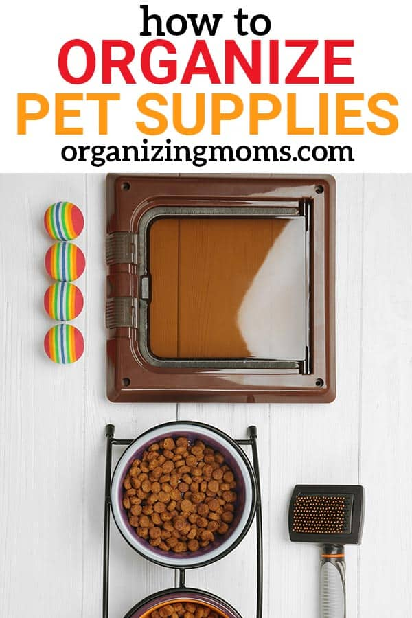 Get your pet supplies organized! Ideas for pet food storage and organizing pet supplies.