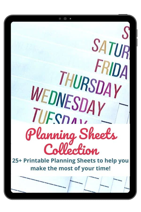Text - Planning Sheets Collection - 25+ printable planning sheets to help you make the most of your time! Close up of days of week designs on planning sheets