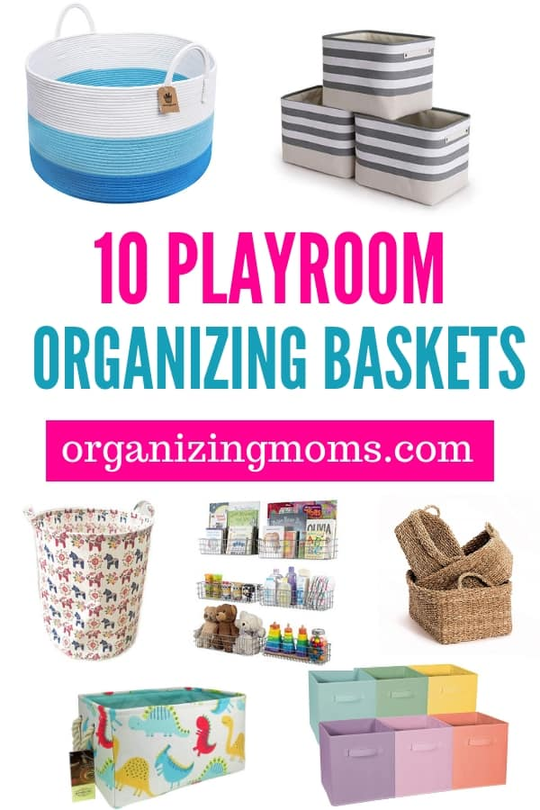 Playroom baskets to control the chaos once and for all! How to use playroom baskets to control toy clutter and organize your playroom. The best playroom baskets for organizing and beautifying your space.