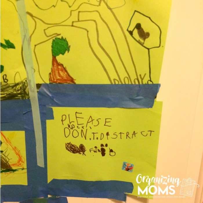 Please do not distract! A homemade sign/drawing by the boys.