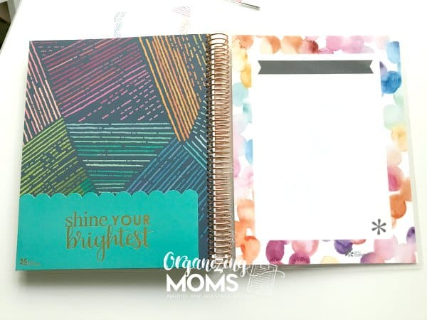 Pocket and note taking space in the back of the Erin Condren Deluxe Monthly Planner.