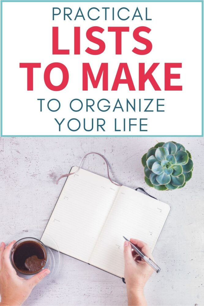 practical lists to make to organize your life