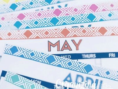 Closet up of printable calendars, focused on May.