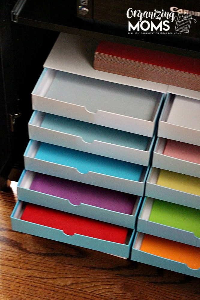 How to organize a printer and paper. Great for families with kids who use the paper and/or printer.