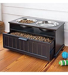 raised dog feeder with drawer for food
