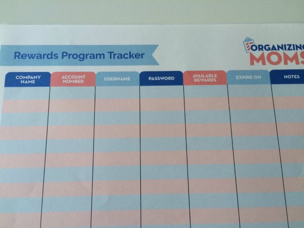 Use this free printable to keep records for all of your rewards programs.