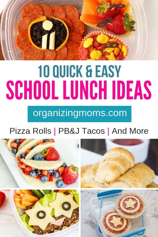 Fast and simple school lunch ideas your kids will love! Free download to help you organize your school lunch making process.