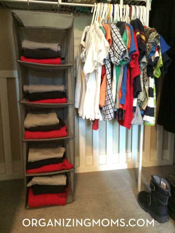 Using a hanging storage piece to organize school uniforms.
