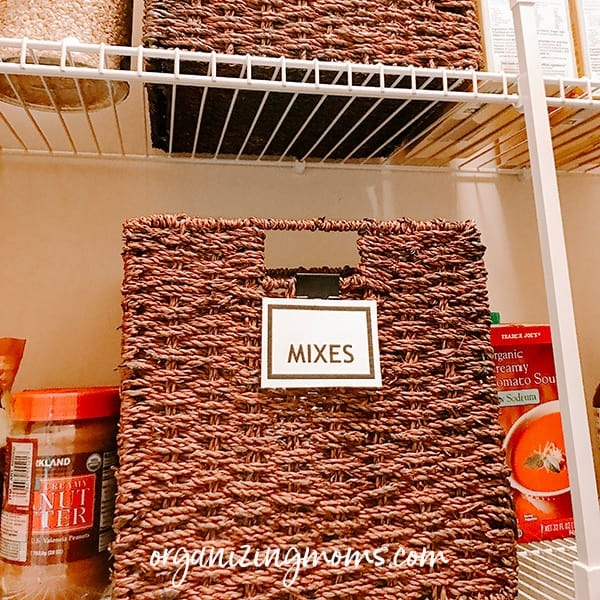 seagrass basket in pantry