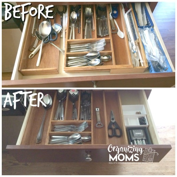 Simplify silverware to make it easier for others to help you. One of the tips for washing fewer dishes each day.