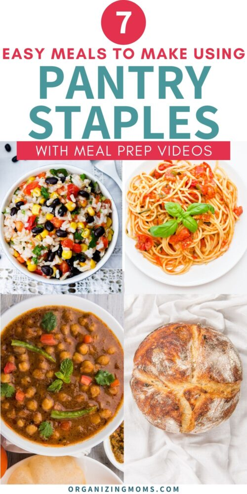 4 simple pantry meals on tables