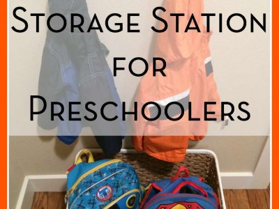 Help your preschoolers organize their backpacks and coats with this simple storage station.