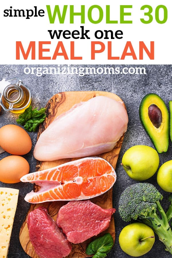 A simple meal plan for week one of the Whole 30. Easy low-carb recipe ideas. Simple meals to help you get used to the Whole 30 lifestyle.