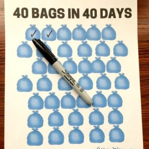 40 Bags in 40 Days Tracker. Complimentary printable for challenge participants.
