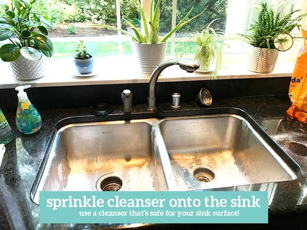 Text - sprinkle cleanser onto the sink use a cleaner that\'s safe for your sink surface. Image of sink with cleaner sprinkled into it. Window