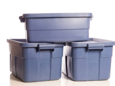 stack of three blue storage tubs