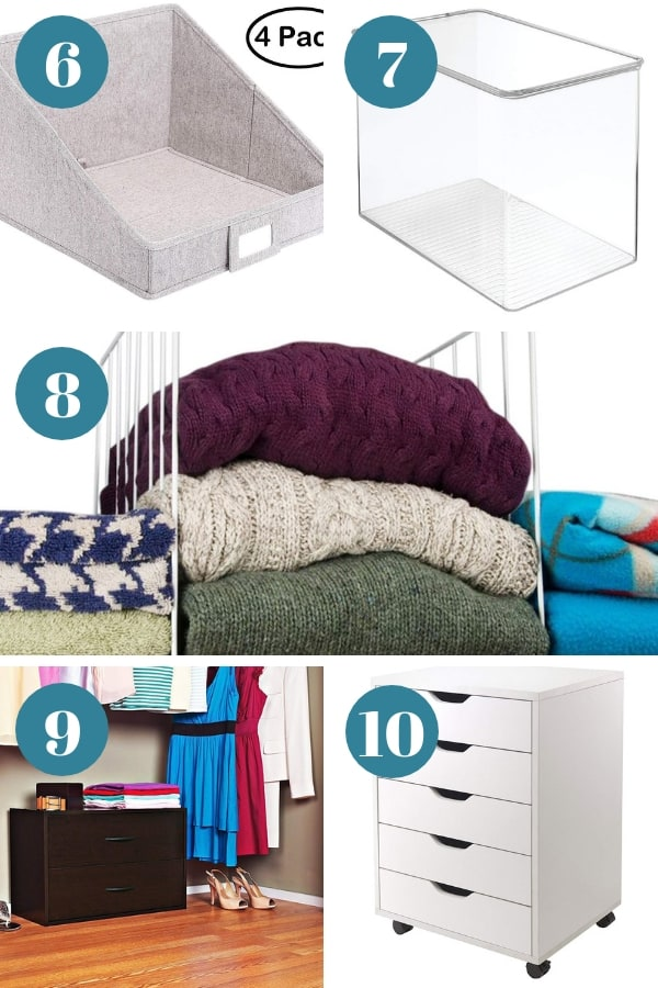 Storage baskets and solutions for closet shelves. 6-10