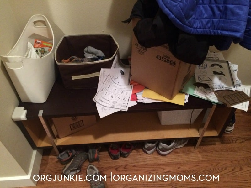 Storage bench mess is an organizing fail! Look how she used it to come up with a better organizing system.