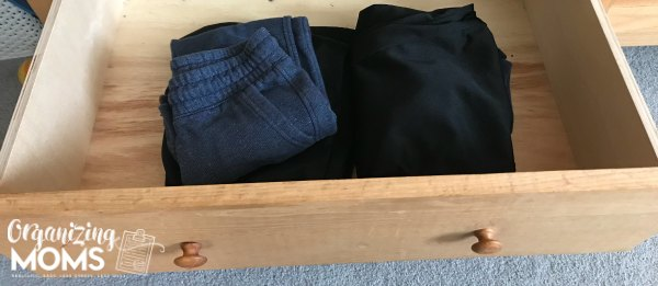 Sweatpants drawer. How to help your child organize clothes.