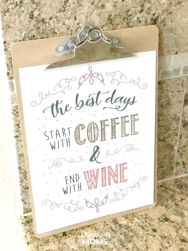 Free printable art for your coffee bar or wine bar. The best days start with coffee and end with wine.