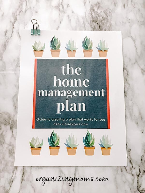 home management plan workbook