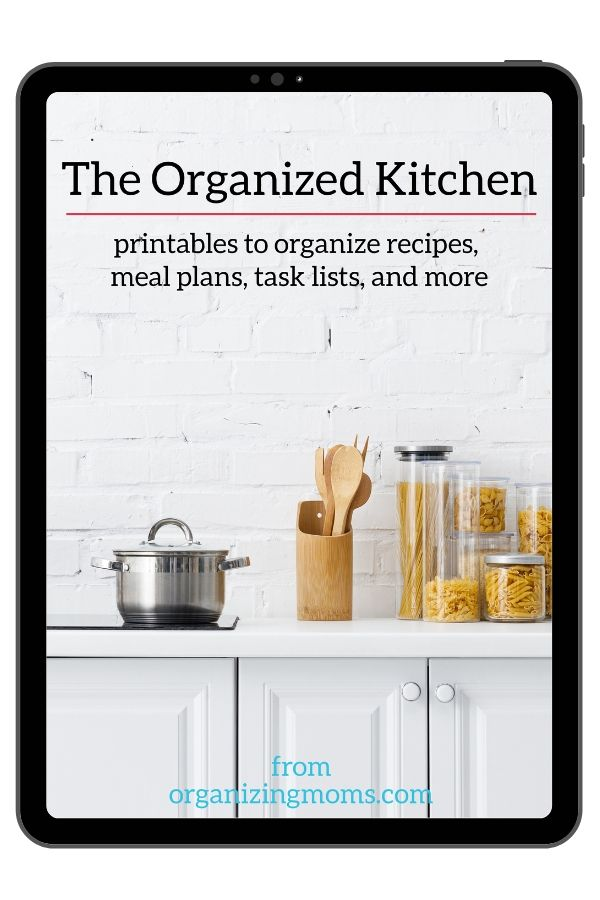 Text - The Organized Kitchen - printables to organize recipes, meal plans, task lists, and more. Image of white kitchen countertop with utensils, pot, and various pastas in jars