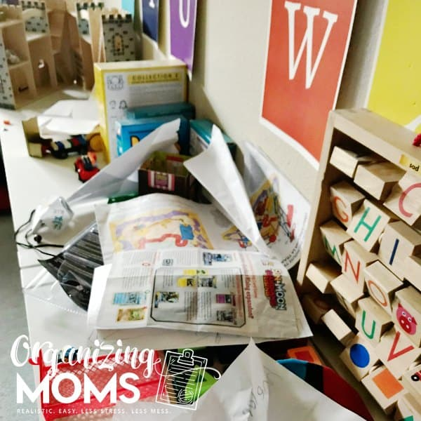 Start organizing your toy room by detrashing