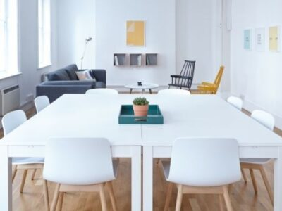An uncluttered dining room table