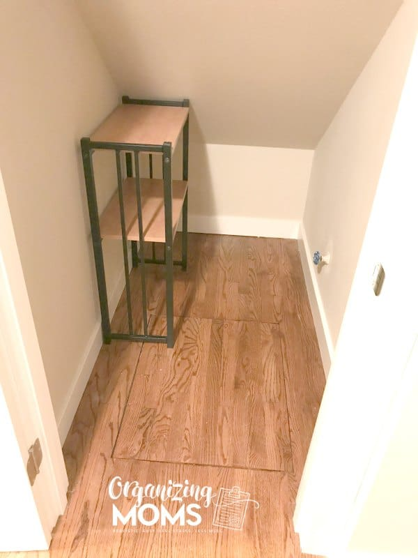 How to use space under the staircase. Declutter everything first and see what types of storage solutions would work under the stairs.
