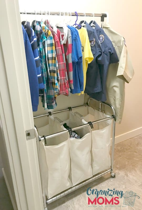 Fancy clothes and uniforms stay in the laundry room. How to help your child organize clothes.