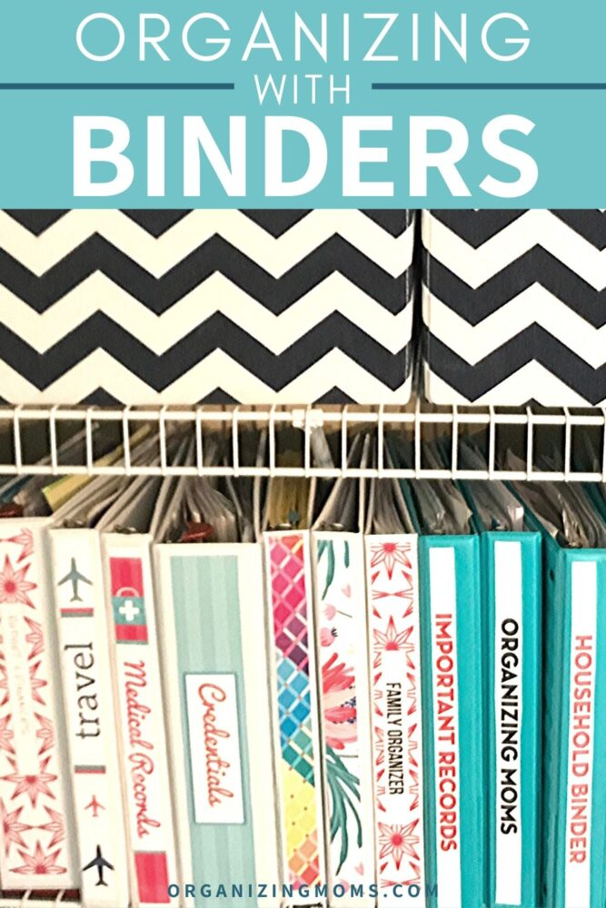 binders on shelf for paper organization