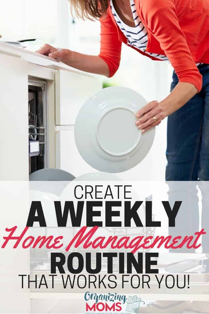 Create a weekly home management routine that works for you and your family. Get the printable planning sheets to start making your own routine!