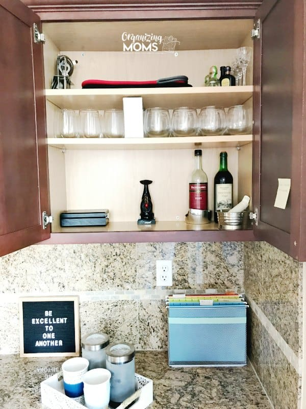 Wine and coffee bar set up in a built in kitchen desk area. A great alternative use for the kitchen desk space.