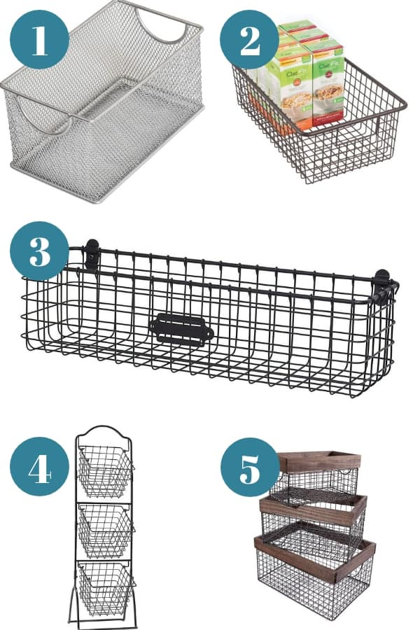 Organizing with wire baskets - beautiful options for storage with wire baskets.